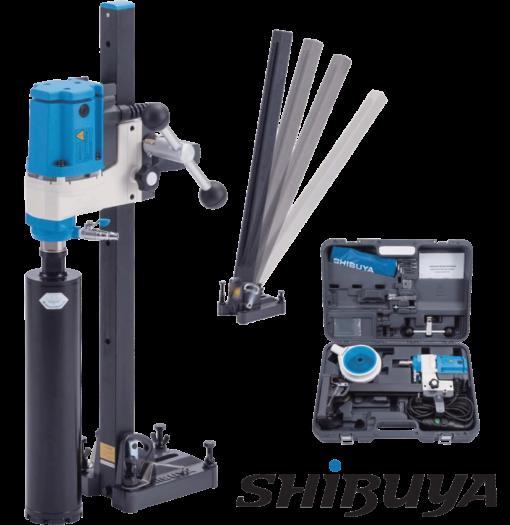 Shibuya Coredrill H1012 (1 speed) Motor and Angle Drill Stand